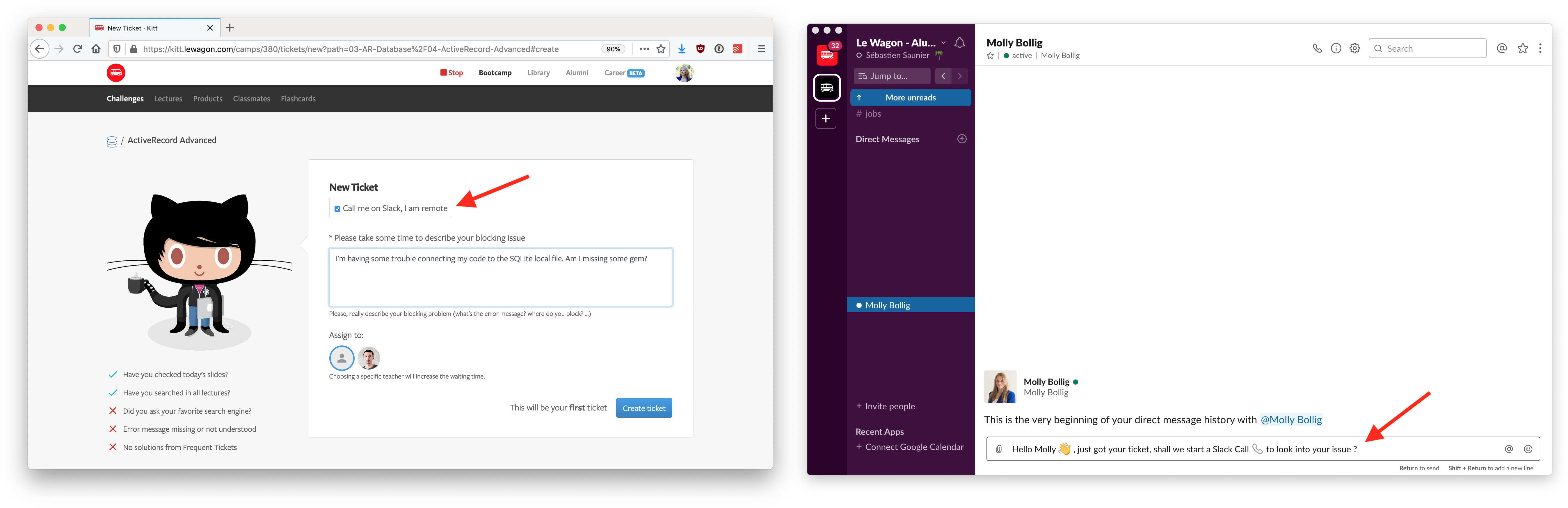 Le Wagon provides 1:1 support via video calls on Slack at all times